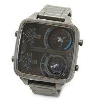 ディーゼルメンズ腕時計デカ系スクエアフェイスの4TIMEモテ・ウオッチDZ7284