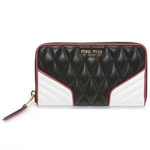 MIU MIU वॉलेट MIU MIU Nappa बाइकर रंग रजाई बना हुआ लंबी जिपर लंबे बटुए 5M0506 नापसंद बायर रंग नीरो + बियांको