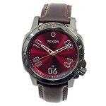 NIXONニクソン腕時計メンズRANGERLEATHERレンジャーレザーガンメタル/ディープバーガンディレッドA508-2073A5082073【RCP】
