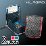 ミラグロMilagro財布メンズbt-c05イタリア製革パンチングレザー縦型ボックスコインケース紳士牛革本革