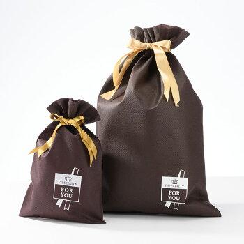 [ラッピング]ゴールドリボンとブラウン色の巾着袋(不織布製)ラッピング[メール便不可][単独購入不可][バッグ・帽子・ネクタイケースは入りません]05P06Aug16