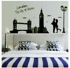 ウォールステッカー【London Dream】夜のロンドン。恋人たちが愛を紡ぐモダンでおしゃれな壁紙。両面タイプなので、窓ガラスに貼ると外からも楽しめます。