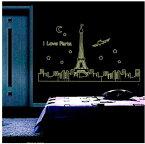 ウォールステッカー【Paris/夜光タイプ】壁紙 シール 賃貸OK はがせる 剥がせる DIY 模様替え インテリア 光る 夜間 発光 巴里 パリ フランス 仏国 エッフェル塔 夜景 景色 星 月 飛行機