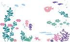 ウォールステッカー【海のなか】60×90cm  剥がせる DIY 模様替え インテリア 海中 マリン 水族館 ハリセンボン クラゲ ジェリーフィッシュ タツノオトシゴ 竜の落とし子 貝殻 カニ 蟹 ヒトデ ひとで 珊瑚 サンゴ 巻貝 熱帯魚 パステルカラー