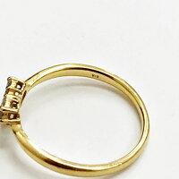 ダイヤモンドハートモチーフデザインリングK18YGイエローゴールド11号指輪【本物保証】【】