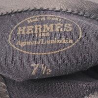 新品未使用展示品HERMESエルメスHロゴステッチデザイングローブ手袋レザーブラック表記サイズ71/2アパレル小物【本物保証】【中古】