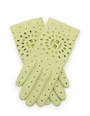 新品未使用展示品HERMESエルメスグローブ手袋ラムレザー黄緑パンチングサイズ71/2小物【本物保証】【中古】