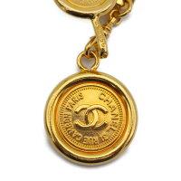 超美品CHANELシャネルココマークコインモチーフチェーンベルト95Aゴールドメタルファッション小物【本物保証】【中古】