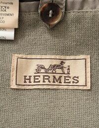 美品HERMESエルメスジャケットグレージップアップ中綿フード付きメーカーサイズ50参考サイズXLメンズアパレル【本物保証】【中古】