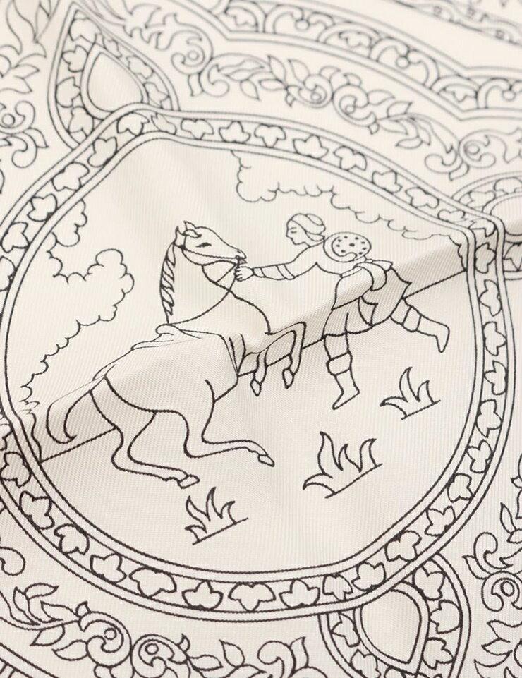 新品未使用展示品 HERMES エルメス カレ 90 スカーフ「QALAMDAN」シルク アイボリー ブラック アパレル 小物【本物保証】