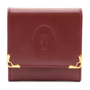 新品未使用展示品 Cartier カルティエ マストライン コインケース レザー ボルドー【本物保証】【中古】