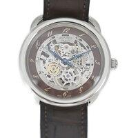 美品 HERMES エルメス アルソー スケルトン 腕時計 AR6.710 ステンレススチール レザー シルバー ブラウン 自動巻【本物保証】【中古】