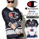 Champion チャンピオン USA規格 ホッケーシャツ ロンt ロングtシャツ メンズ 長袖 スクリプトロゴ B系 ストリート ファッション
