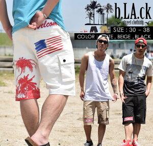 BRb.LA.ck【ブラック】ハーフパンツメンズカーゴパンツメンズカーゴショーツショーツ大きいサイズメンズビッグサイズメンズジップダウンジップフライボトムス