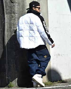 ダウンジャケットメンズ大きいサイズ軽量中綿白ホワイトb系ファッションヒップホップストリート系
