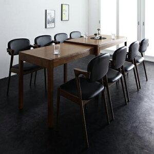 送料無料 Jamp ジャンプ スライド伸縮テーブル 9点セット(テーブル+チェア8脚) 8人掛け 伸縮 天然木 木製 天板拡張 角型 ブラウン 無垢 合成皮革 ホワイト ブラック 500026756 モダン ダイニングセ
