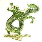 風水グッズ、願い龍、皇帝龍、緑龍、雲上龍の置物、きらきらラインストーン装飾1