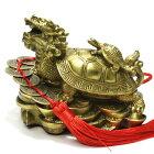 風水グッズ・龍亀(ロングイ・ろんぐい)銅製、置物、六帝古銭付、大サイズ1