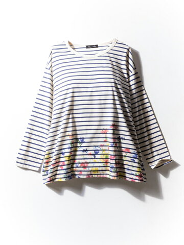 tシャツ 大きいサイズ レディース カジュアルトップス 3L 4L 5L ボーダー×花柄Tシャツ ネービー/プリント 大きいサイズの店 フォーエル