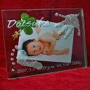 天使の誘惑 ガラスフォトフレーム 赤ちゃん手形 足形 出産記念品 写真立て
