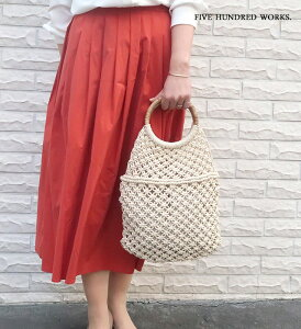 マクラメバッグA(天然素材) 500WORKS.CARMELINA カルメリーナ 女性用バッグ カゴ かごバッグ 天然素材 Creer/クレエ