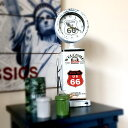 アメリカンレトロ調 アナログ 置き時計 ROUTE66 GAS PUMP 給油機 (ホワイト)