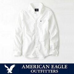 アメリカンイーグル メンズ カジュアル シャツAE SHIRT・メンズ長袖 白シャツ ボタンシ…