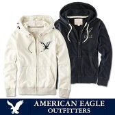 アメリカンイーグル American Eagleメンズ フルジップパーカー(ae1766) 暖か裏起毛 オフホワイト ダークネイビー