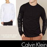カルバン・クライン【CalvinKlein】メンズ長袖TシャツロンTホワイトブラックck345