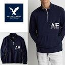 【American Eagle】アメリカンイーグル AE スウェットメンズ ハーフジップ トレーナー ae1908 ネイビー 裏起毛なし