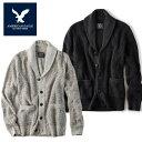 【American Eagle】アメリカンイーグル AE カーディガンメンズ ニット 大きめサイズ XL グレー ダークグレー ae1821 コットン100%