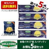 イタリア産乾燥パスタ5袋セットデュラム小麦100%選べる5種送料無料sol03ソルレオーネ低GI1.7mm1.5mmカッペリーニリングイーネ