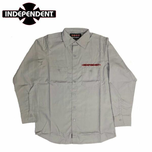 トップス, カジュアルシャツ Independent GRINDSTONE LS WORK SHIRT SMLXL GRAY