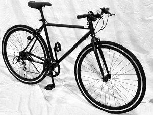 【<送料無料自転車(沖縄・北海道除く)>クロスバイク】【700c・6段ギア・ディープリム・ブラックスポーク】サントラスト(SUNTRUST)自転車ブラック/黒クロスバイクかっこいい自転車・デカールなし