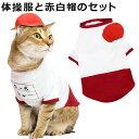 ゴロにゃんオリジナル猫服 体操服と赤白帽のセット エンジ (27300) その1