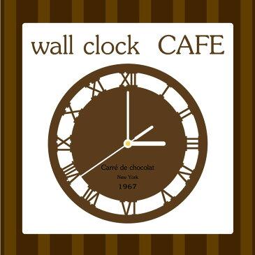 [送料無料] 木製 ウォールクロック CAFE お洒落なカフェ 店名彫刻 時計 掛け時計 開店祝いに♪ M39M【RCP】