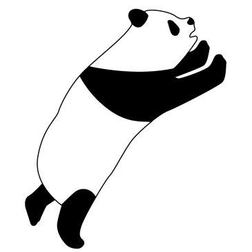 メール便等送料無料 ステッカー 飛ぶパンダ 選べるサイズ・カラー パンダ/熊猫/シャンシャン 車のドレスアップに (メ3) M39M
