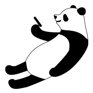 メール便等送料無料 ステッカー スマホを見るパンダ 選べるサイズ・カラー パンダ/熊猫/シャンシャン 車のドレスアップに (メ3) M39M