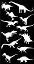 【恐竜デザインシルエットステッカーお得な12匹セット】カラ...