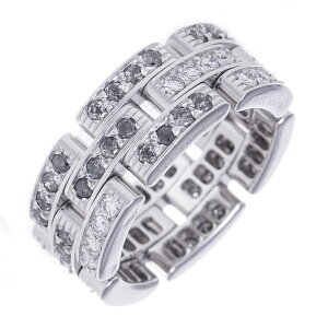 Cartier Ring Ring Maillon Pantail Full Diamond Fancy Gray Movable Chain K18WG Cartier