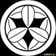 【家紋シール】 貼り付け家紋 「丸に九枚笹」 KOM109 ※黒地の着物用、直径4cm
