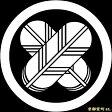 【家紋シール】 貼り付け家紋 「丸に違い鷹の羽」 KOM111 ※黒地の着物用、直径4cm