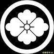 【家紋シール】 貼り付け家紋 「丸に花菱」 KOM116 ※黒地の着物用、直径4cm