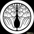 【家紋シール】 貼り付け家紋 「丸に抱き茗荷」 KOM127 ※黒地の着物用、直径4cm