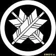 【家紋シール】 貼り付け家紋 「丸に違い矢」 KOM129 ※黒地の着物用、直径4cm