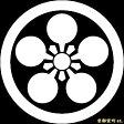 【家紋シール】 貼り付け家紋 「丸に加賀梅鉢」 KOM142 ※黒地の着物用、直径4cm