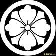 【家紋シール】 貼り付け家紋 「丸に四方剣花菱」 KOM152 ※黒地の着物用、直径4cm