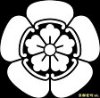 【家紋シール】 貼り付け家紋 「織田家瓜」 KOM154 ※黒地の着物用、直径4cm