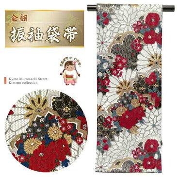 振袖用袋帯 成人式に 日本製 全通柄 華やかな柄の袋帯(合繊) 仕立て上がり「黒地 菊と梅に桜牡丹」TPF314