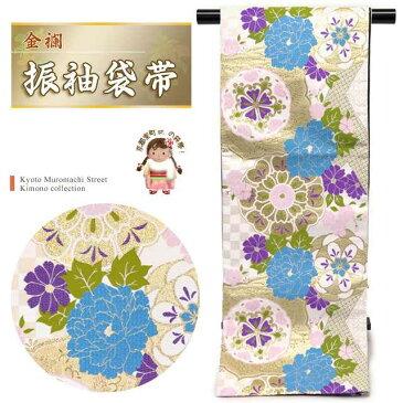 振袖用袋帯 成人式に 日本製 全通柄 華やかな柄の袋帯(合繊) 仕立て上がり「白系 華紋に牡丹」TPF322